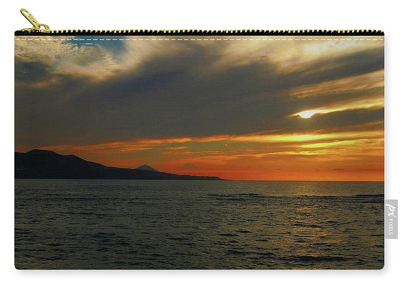 Las Palmas Carry-all Pouch featuring the pyrography Sunset Las Canteras  by Rigoberto Garcia