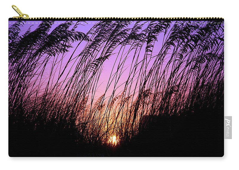 Beach Carry-all Pouch featuring the pyrography Sunset Myrtle Beach by Heather Fiedler