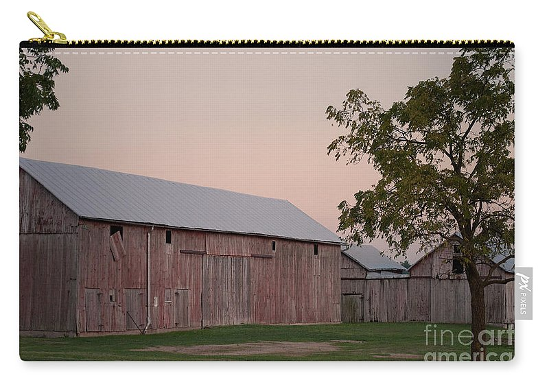 An Old Barn And Out Buildings In Rural Northwestern Ohio. Carry-all Pouch featuring the photograph Sunset Of My Years by Paulette B Wright
