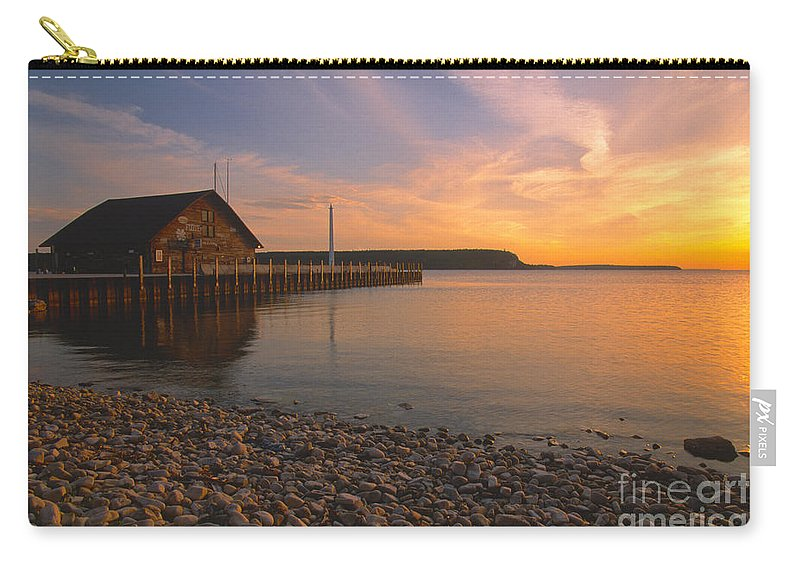 Waterscapes Carry-all Pouch featuring the photograph Sunset On Anderson's Dock - Door County by Sandra Bronstein