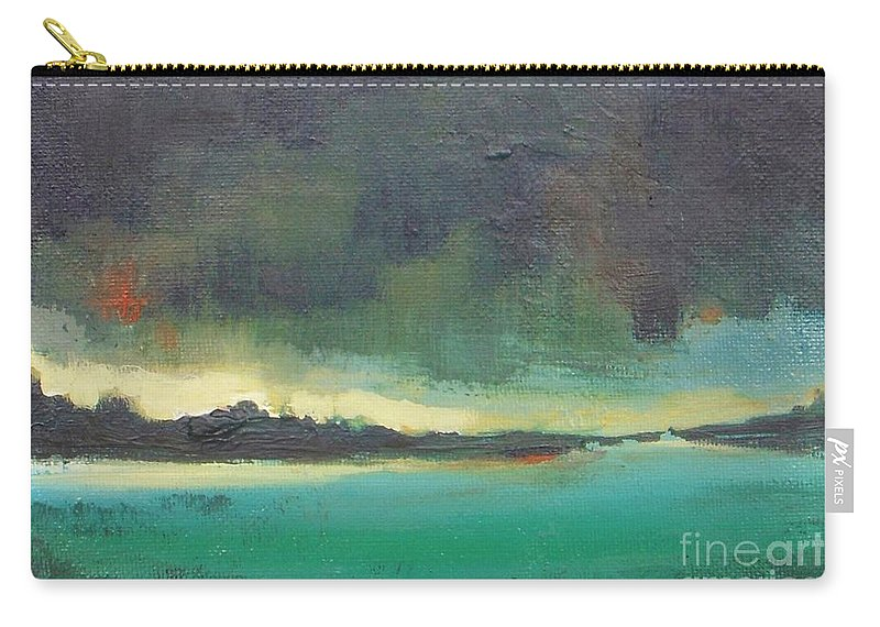 Landscape Carry-all Pouch featuring the painting Sunset On Blue Danube by Vesna Antic