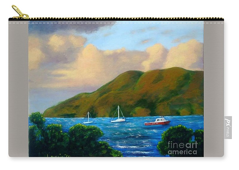 Sunset Carry-all Pouch featuring the painting Sunset On Cruz Bay by Laurie Morgan