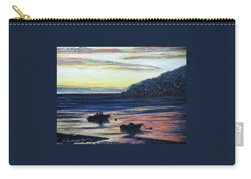 Maine Carry-all Pouch featuring the painting Sunset On Maine Coast by Richard Nowak