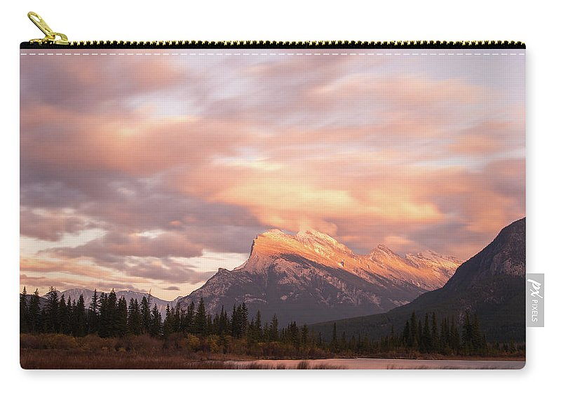 Mount Rundle Carry-all Pouch featuring the photograph Sunset On Mount Rundle by Alex Lapidus