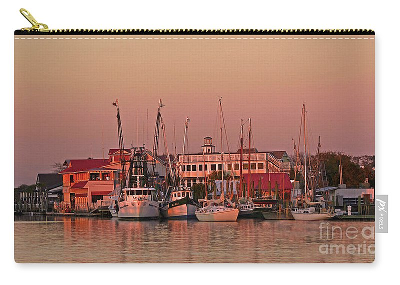 Sunset Carry-all Pouch featuring the photograph Sunset On Shem Creek by Linda Vodzak