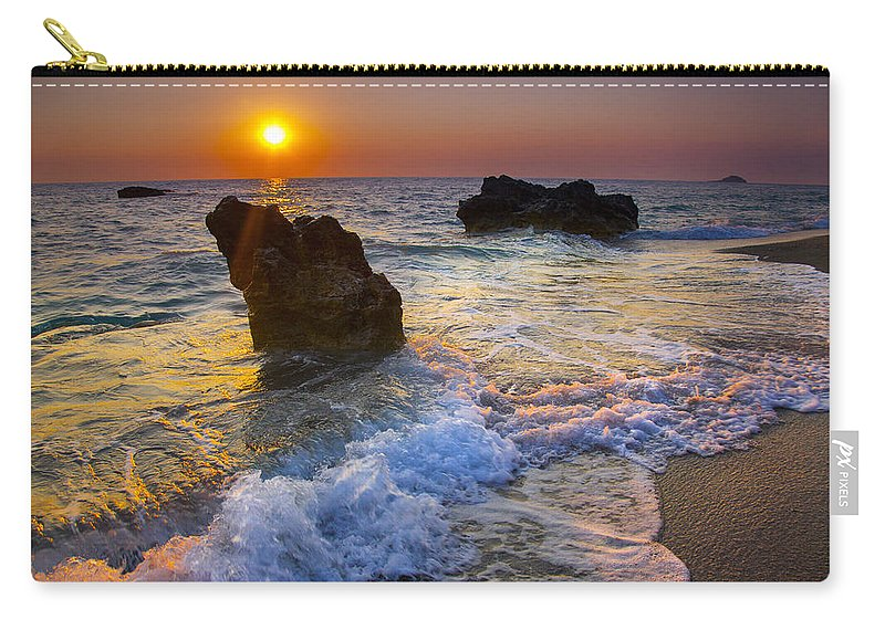 Beach Carry-all Pouch featuring the photograph Sunset On The Beach by Sandra Rugina