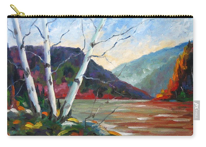 Landscape; Landscapes/scenic; Birches;sun;lake;pranke Carry-all Pouch featuring the painting Sunset On The Lake by Richard T Pranke