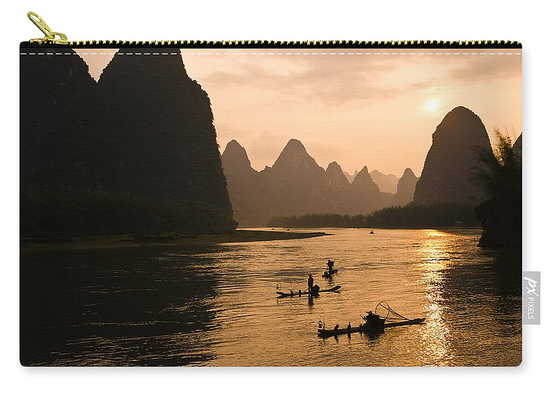 Asia Carry-all Pouch featuring the photograph Sunset on the Li River by Michele Burgess
