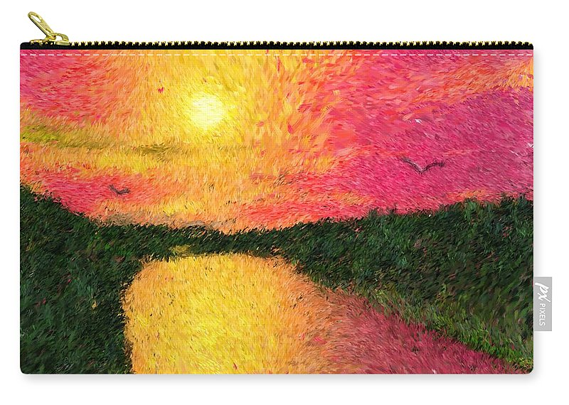 Digital Art Carry-all Pouch featuring the digital art Sunset On The River by David Lane