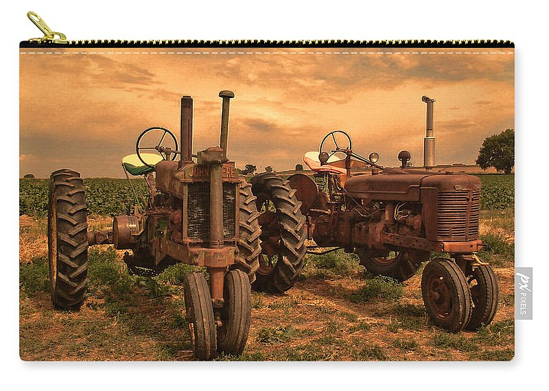 John Deere Carry-all Pouch featuring the photograph Sunset On The Tractors by Ken Smith