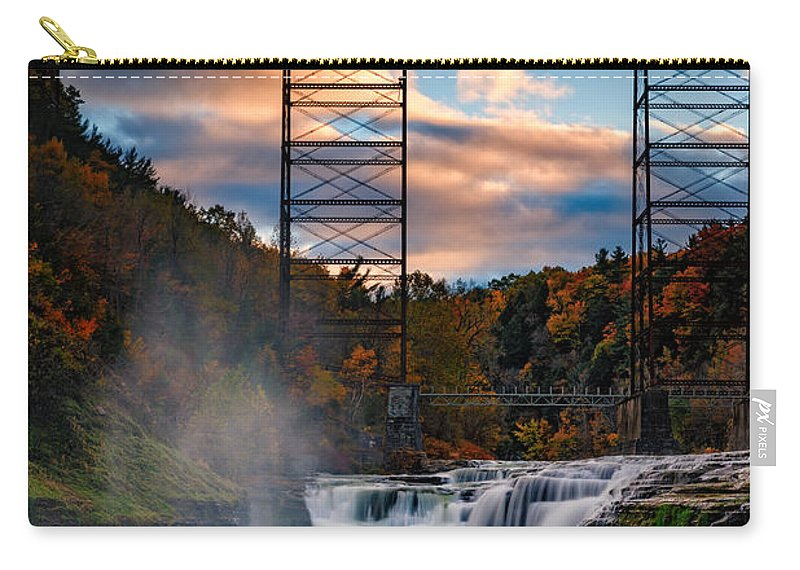 Autumn Carry-all Pouch featuring the photograph Sunset On The Upper Falls by Rick Berk