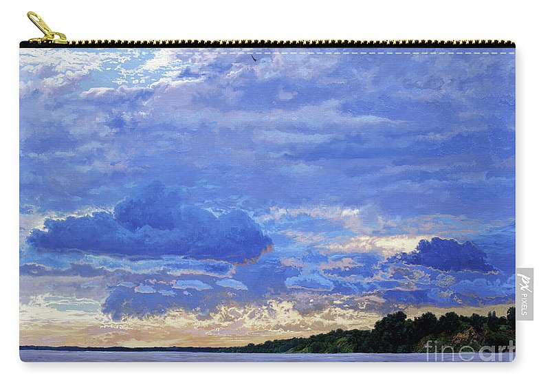 Landscapes Carry-all Pouch featuring the painting Sunset On The Volga. Gorodets by Simon Kozhin
