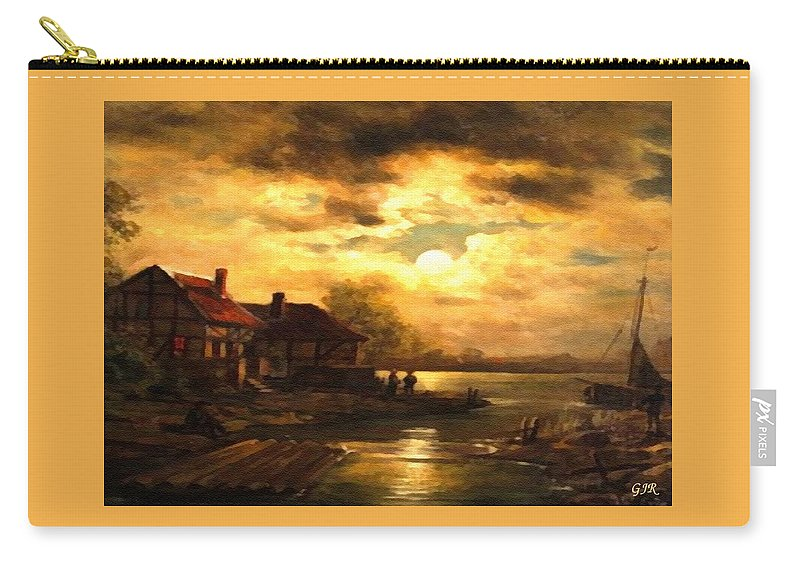 Lumberjack Carry-all Pouch featuring the digital art Sunset Over A Lumberjack Community L A S by Gert J Rheeders