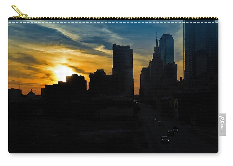 Cityscape Sunsets Carry-all Pouch featuring the photograph Sunset Over Main Street by Diana Mary Sharpton