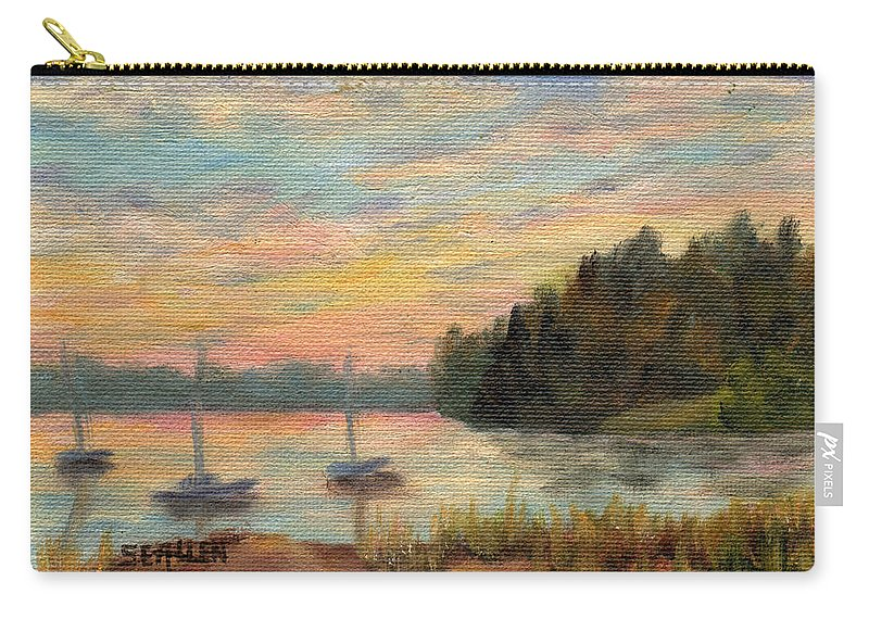 Sunset Carry-all Pouch featuring the painting Sunset Over Massabessic by Sharon E Allen