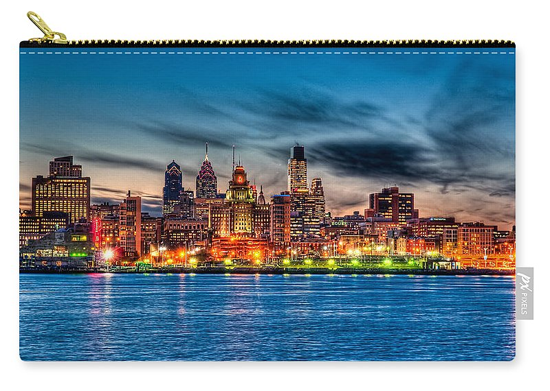 Photography Carry-all Pouch featuring the photograph Sunset Over Philadelphia by Louis Dallara