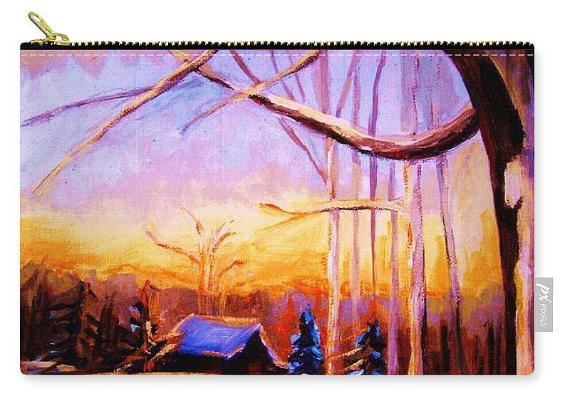 Sunset Over Hockey Carry-all Pouch featuring the painting Sunset Over The Hockey Game by Carole Spandau