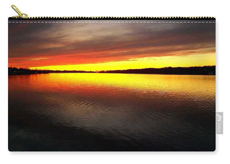Gold Carry-all Pouch featuring the photograph Sunset Over The Lake by Michelle Calkins