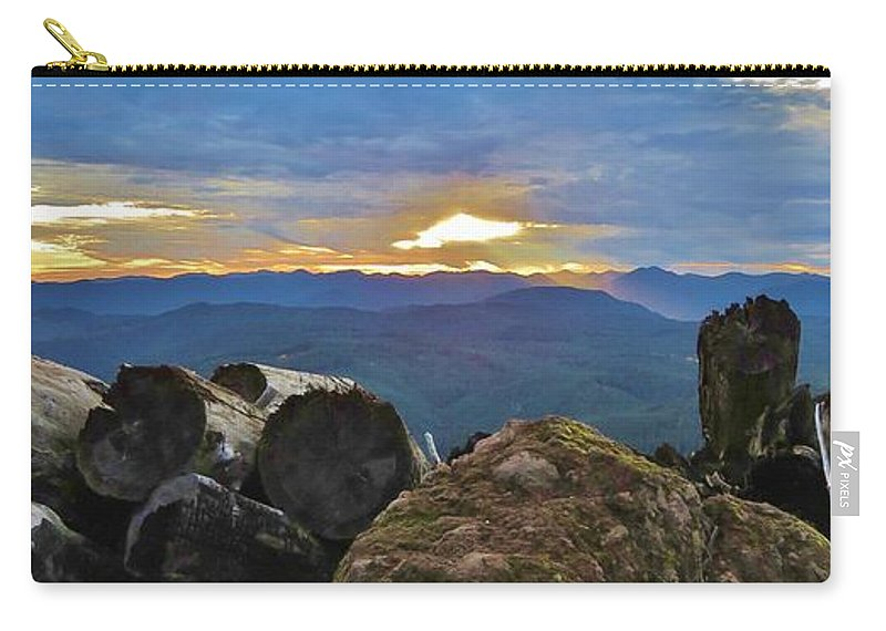 Sunset Carry-all Pouch featuring the photograph Sunset Over The Mountain Range by Mel Manning