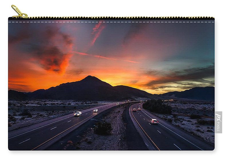 Soda Mountains Carry-all Pouch featuring the photograph Sunset Over The Soda Mountains by Mountain Dreams