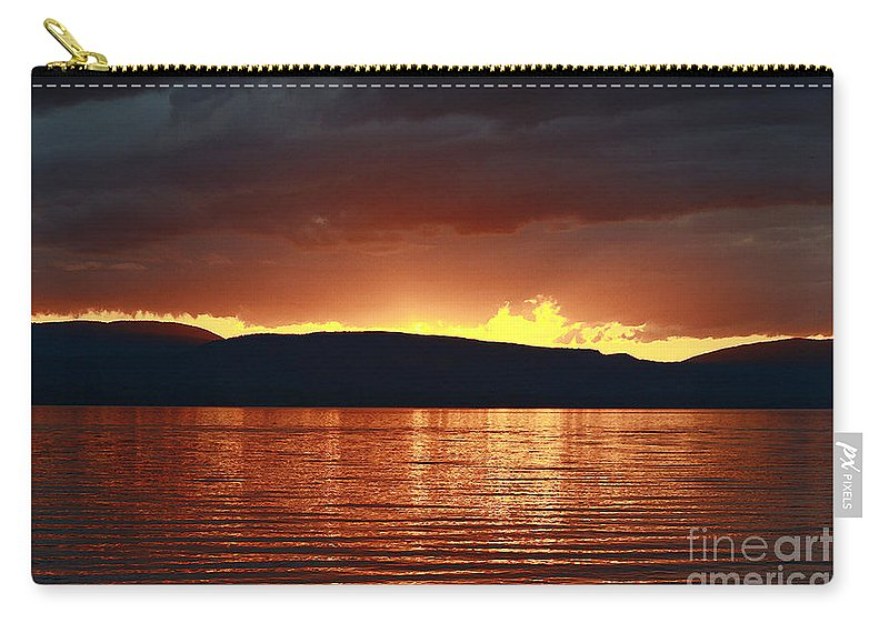 Lake Carry-all Pouch featuring the photograph Sunset Red by Deborah Benoit