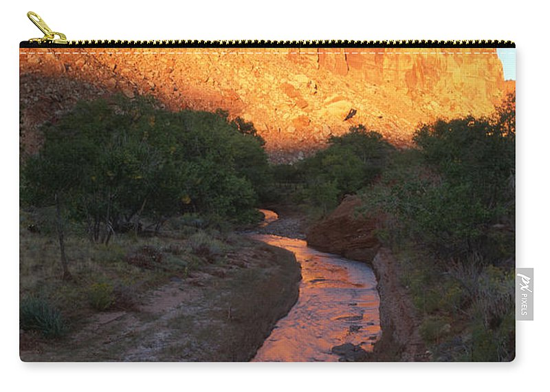 Southwest Carry-all Pouch featuring the photograph Sunset Reflection - Fremont River by Sandra Bronstein