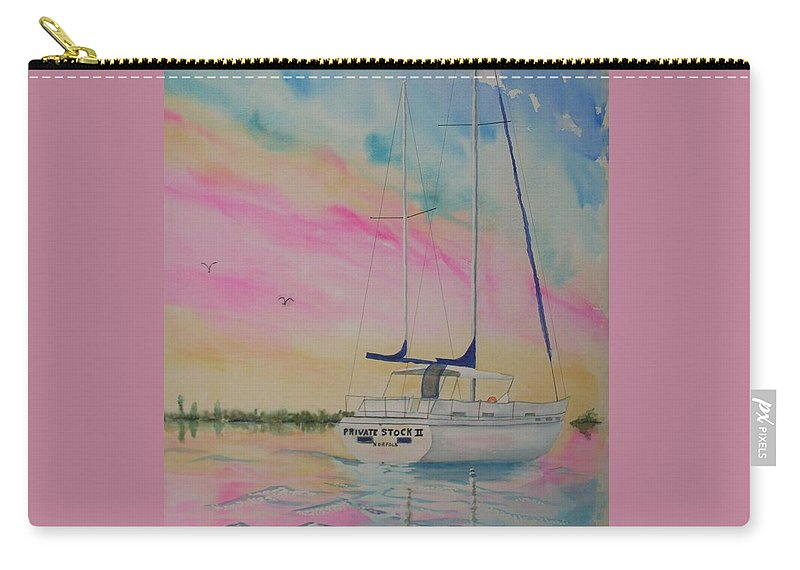 Sunset Sail 3 Carry-all Pouch featuring the painting Sunset Sail 3 by Warren Thompson
