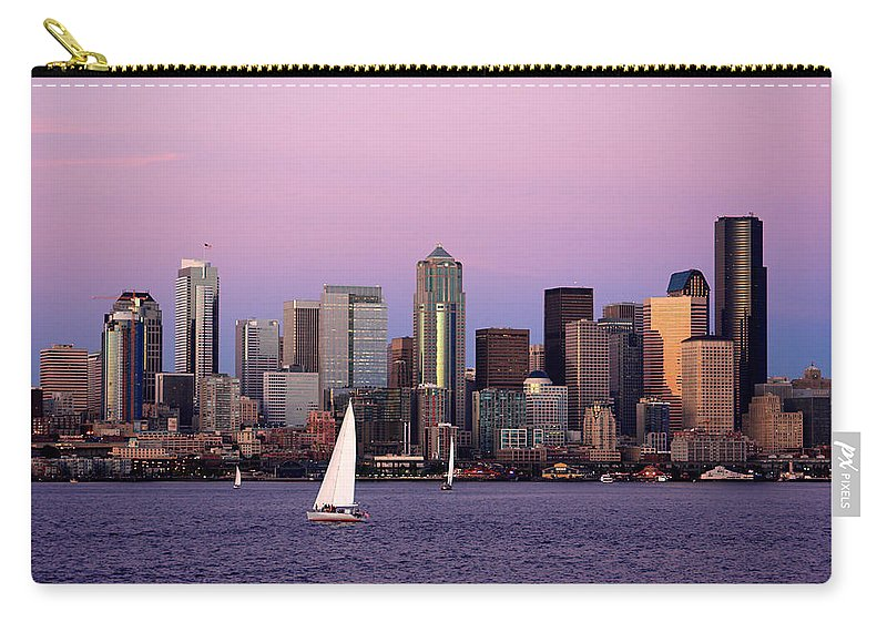 3scape Photos Carry-all Pouch featuring the photograph Sunset Sail In Puget Sound by Adam Romanowicz