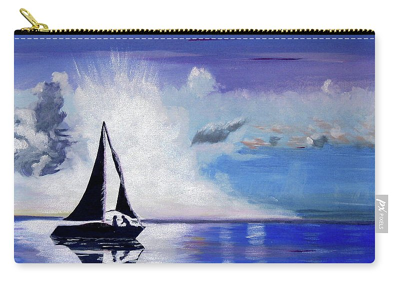 Sail Boat Carry-all Pouch featuring the painting Sunset Sail by Phyllis Kaltenbach