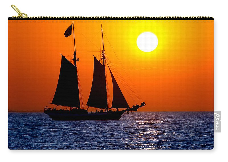 Yellow Carry-all Pouch featuring the photograph Sunset Sailing in Key West Florida by Michael Bessler