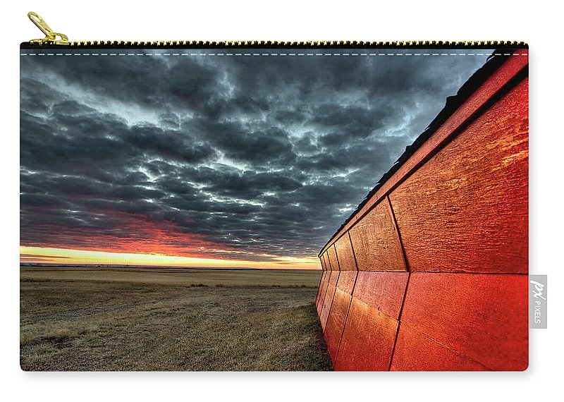 Sunset Carry-all Pouch featuring the digital art Sunset Saskatchewan Canada by Mark Duffy
