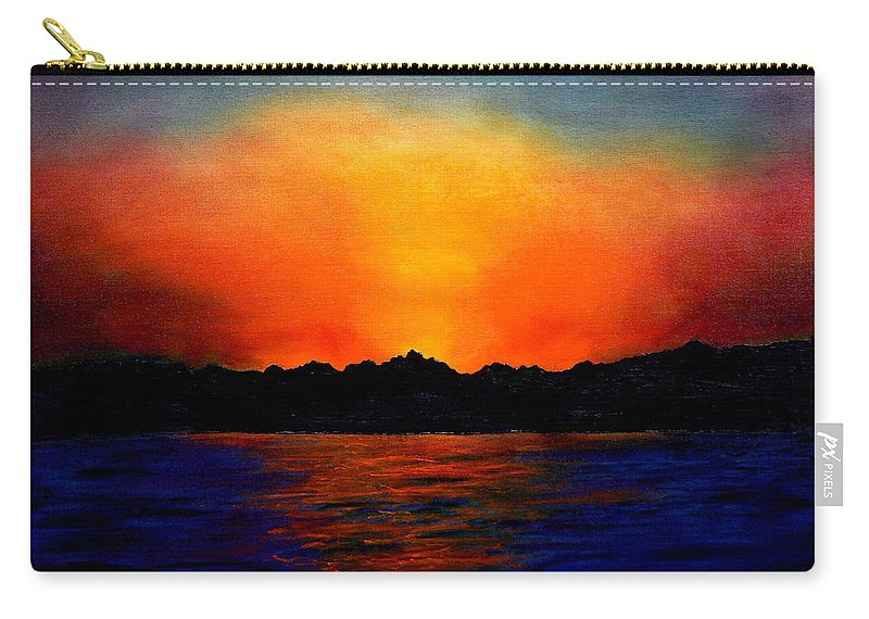 Sinai Sunset Carry-all Pouch featuring the painting Sunset Sinai by Helmut Rottler