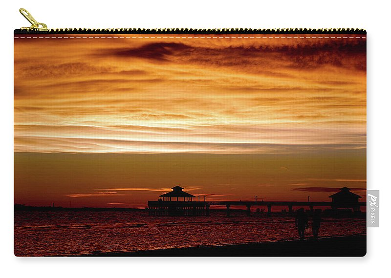Sunset Carry-all Pouch featuring the photograph Sunset Stroll Along The Beach 2582 H_2 by Steven Ward