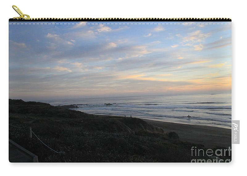 Surf Carry-all Pouch featuring the photograph Sunset Surf by Linda Woods