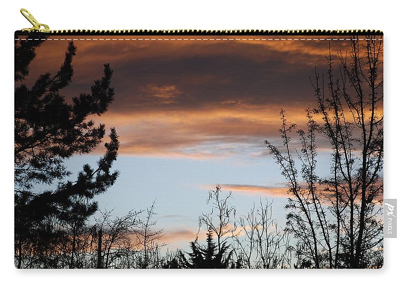 Sunset Carry-all Pouch featuring the photograph Sunset Thru The Trees by Rob Hans