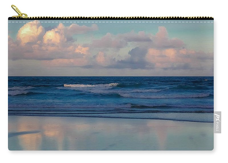Ocean Carry-all Pouch featuring the digital art Sunset Tides by DigiArt Diaries by Vicky B Fuller