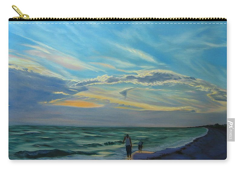 Seascape Carry-all Pouch featuring the painting Sunset Treasure Hunt by Lea Novak