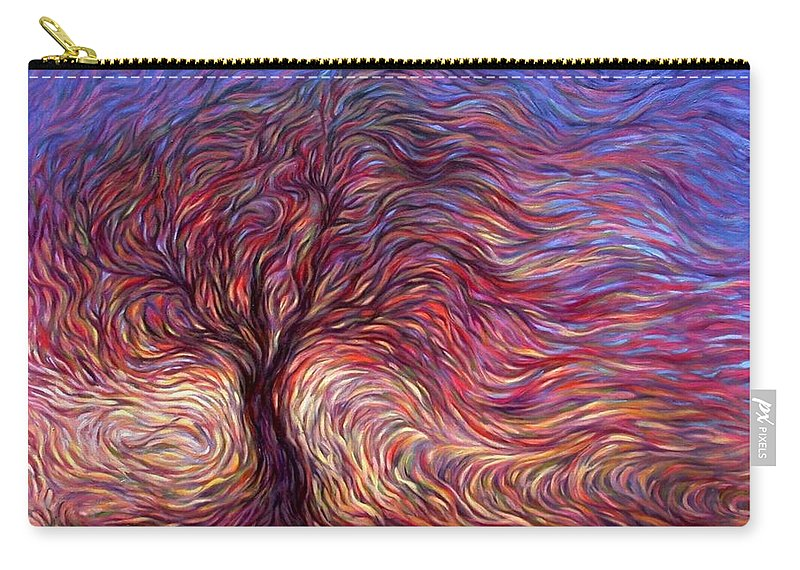 Tree Carry-all Pouch featuring the painting Sunset Tree by Hans Droog