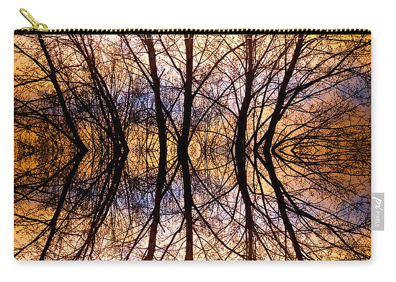 Abstract Prints Carry-all Pouch featuring the photograph Sunset Tree Silhouette Abstract 1 by James BO Insogna