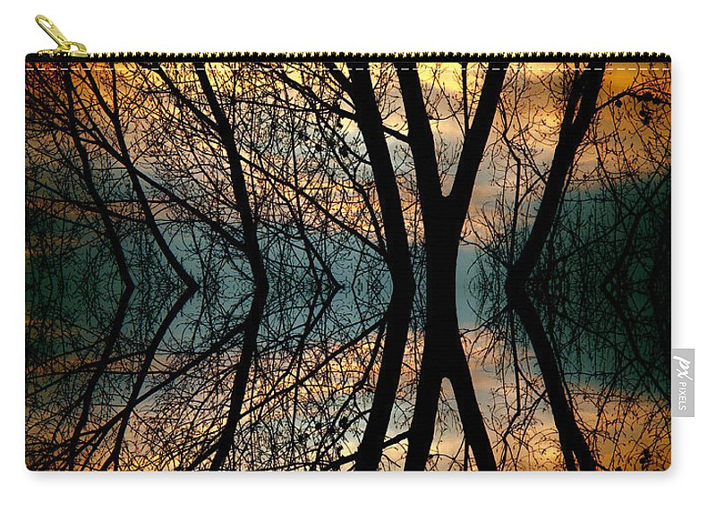 Abstract Carry-all Pouch featuring the photograph Sunset Tree Silhouette Abstract 3 by James BO Insogna