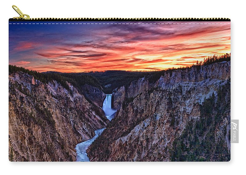 Nature Carry-all Pouch featuring the photograph Sunset Waterfall by John K Sampson