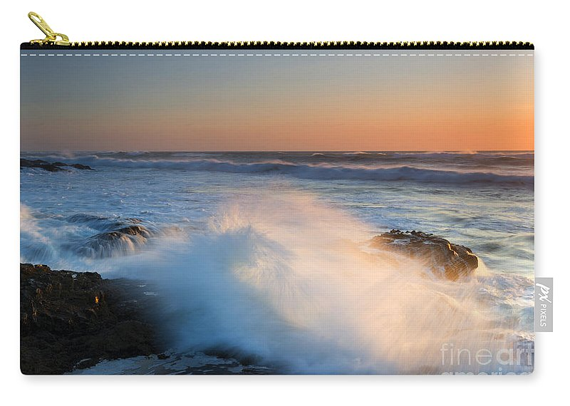 Yachats Carry-all Pouch featuring the photograph Sunset Wave Explosion by Mike Dawson
