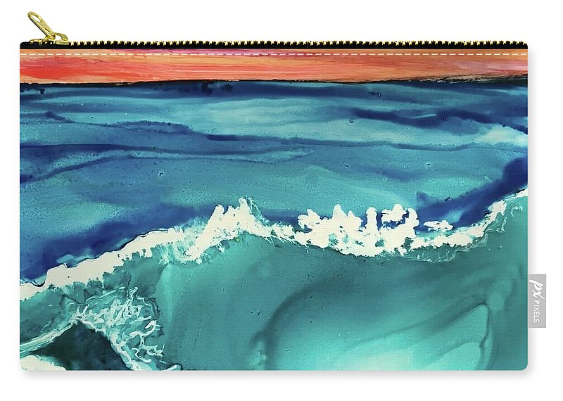 Dynamic Oceanscape With A Brilliant Orange Sunset Sky Carry-all Pouch featuring the painting Sunset Waves by Leti C Stiles