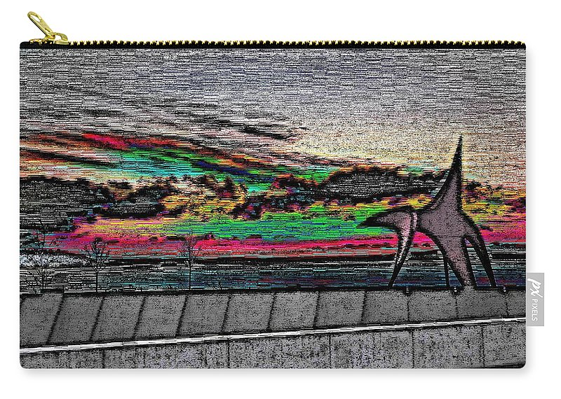 Sunset Carry-all Pouch featuring the digital art Sunset With The Eagle by Tim Allen