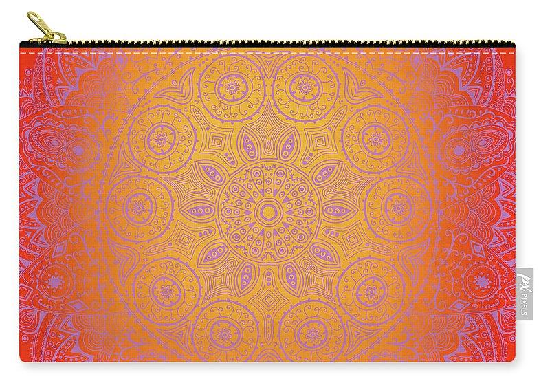 Purple Carry-all Pouch featuring the digital art Sunshine Purple Mandala by Susan Link