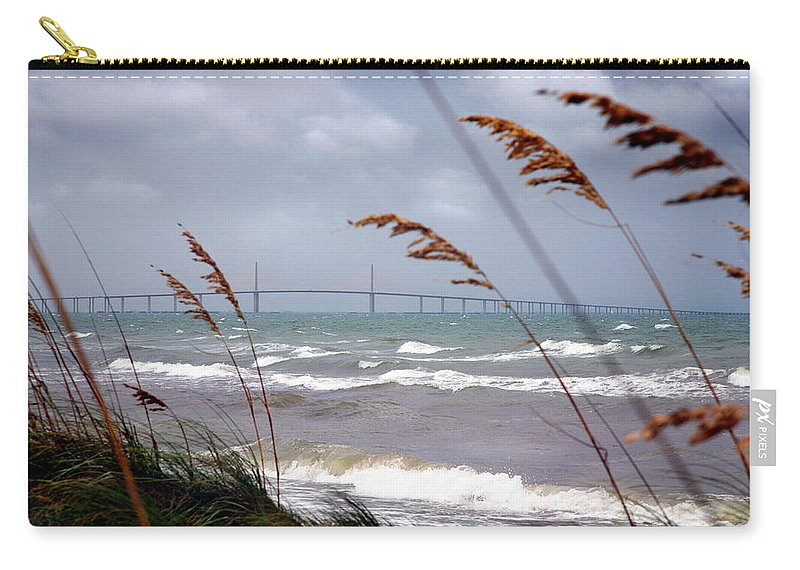Sunshine Carry-all Pouch featuring the photograph Sunshine Skyway Bridge Viewed From Fort De Soto Park by Mal Bray