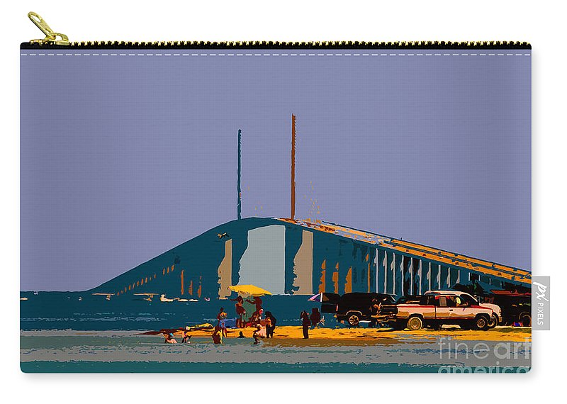 Sunshine Skyway Bridge Carry-all Pouch featuring the photograph Sunshine Skyway by David Lee Thompson