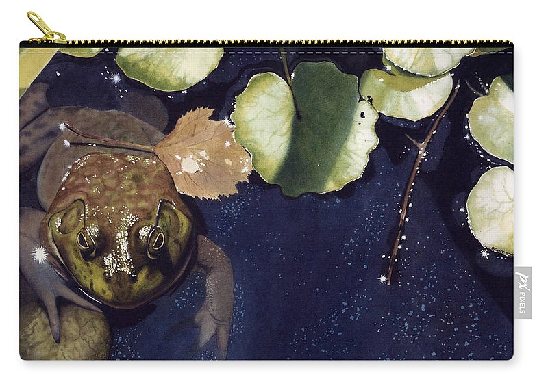Frog Carry-all Pouch featuring the painting Sunspots by Denny Bond