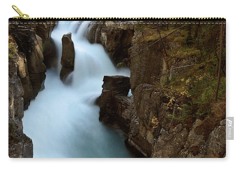 Gorge Carry-all Pouch featuring the digital art Sunwapta Falls In Jasper National Park by Mark Duffy