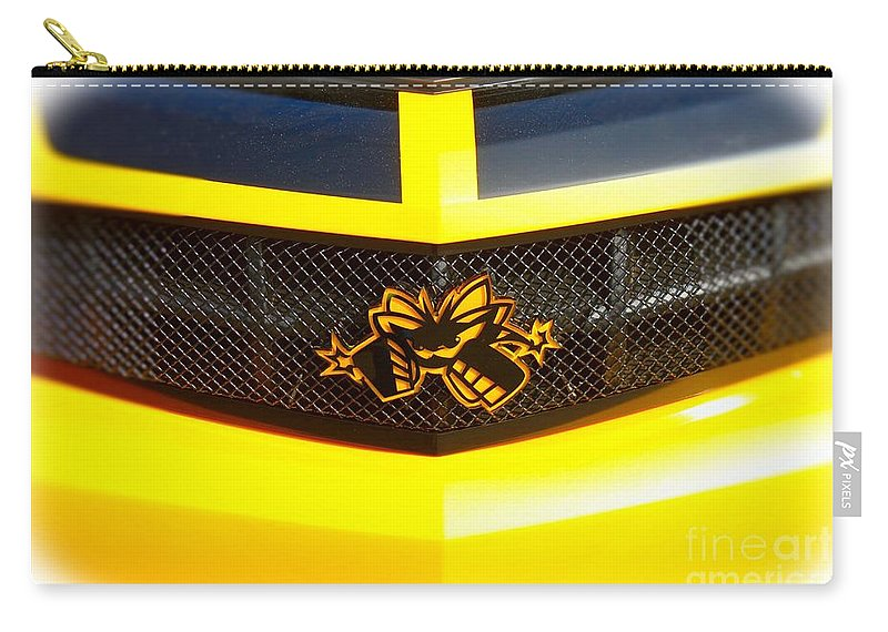 Camaro Carry-all Pouch featuring the photograph Super Bee Camaro Grill by Tommy Anderson